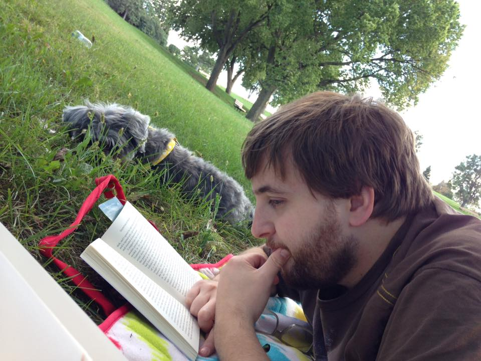 Author Randal Eldon Greene with his blind dog, Missy.