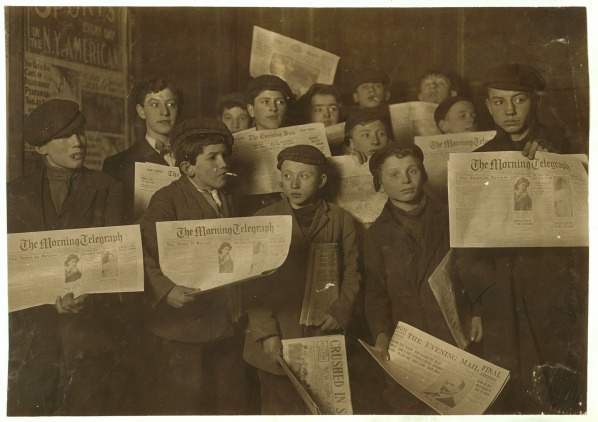 vintage black and white photo of paper boys