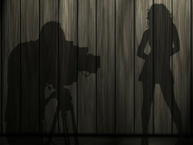 woman and photographer silhouette