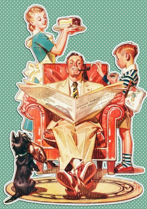 Vintage Family man reading newspaper around wife, son, and dog.